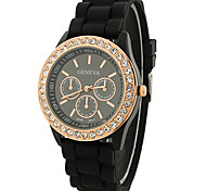 casal relógio de quartzo diamante suave silicone relógio de pulso (cores sortidas)