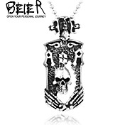 Skull Pendant Necklace For Girl Boy Stainless Steel