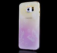 Modelo de mariposa impresión Mobile Shell gradiente delgado material de TPU transparente para samsung galaxy s6 (colores surtidos)
