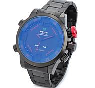 weide analogique wh2309 le sport inoxydable de quartz en acier + montre numérique poignet w / calendrier + alarme - noir