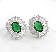 High Quality Fashion Women Oval Drill Zircon Earrings