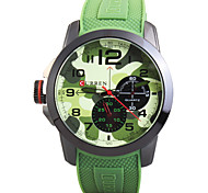 Man's Quartz Wrist Watch Round Dial Fashion Silicone Strap (Assorted Colors) Cool Watch Unique Watch