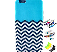 Striped Anchor Pattern with Stylus ,Anti-Dust Plug and Stand TPU Soft Case for iPhone 6