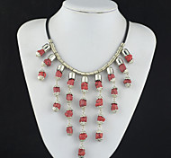 Toonykelly Vintage Look Antique Silver Irregular Red Turquoise Necklace(1 Pc)