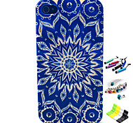 Sunflower Pattern with Stylus ,Anti-Dust Plug and Stand TPU Soft Case for iPhone 4/4S