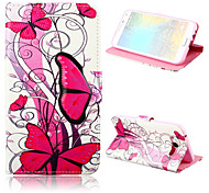 Butterfly Pattern PU Leather Case with Stand for Samsung Galaxy E7