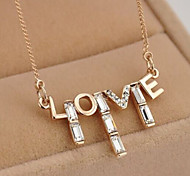Romantic LOVE Letters Crystal Necklace