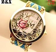 Women's Fashion Diamond Lovely Rose Eiffel Tower Quartz Analog Weaving Wool Band Wrist Watch(Assorted Colors)