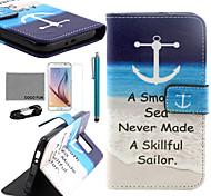 Coco fun® padrão mar marinheiro estojo de couro pu com filme e cabo USB e caneta para Samsung Galaxy S6