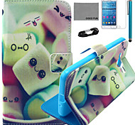 COCO FUN® Smile Sweet Pattern PU Leather Case with Film and USB Cable and Stylus for Samsung GALAXY Grand Prime G530