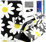 COCO FUN® Yellow Daisy Pattern PU Leather Case with and USB Cable and Stylus for Samsung Galaxy Core Prime G360
