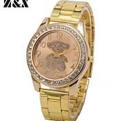 Women's Fashion Diamond Lovely Pink Bear Dial Quartz Analog Steel Belt Wrist Watch