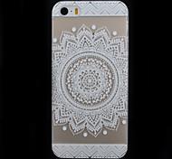 patrón de flor blanca redonda transparente caja del teléfono de la impresión material de la PC para el iphone 5 / 5s
