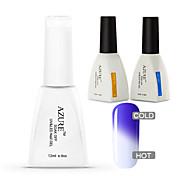Azure 3 Pcs/Lot Temperature Changing Color Soak Off Nail Art Nail Polish DIY for Nail Beauty(#15+BASE+TOP)