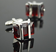 Toonykelly® Fashion Men's Silver Plated Rhinestone CZ Crystal Glass Cufflink Button(1 Pair)