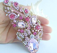 Women Accessories Gold-tone Pink Rhinestone Crystal Flower Brooch Art Deco Crystal Brooch Bouquet Women Jewelry