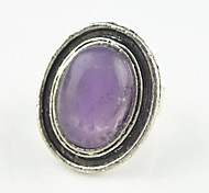 Vintage Antique Silver Oval Turquoise Lava Amethyst Tiger Stone Adjustable Free Size Ring(1PC)