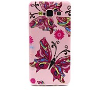Pink Butterfly Pattern TPU Relief Back Cover Case for Samsung Galaxy A3