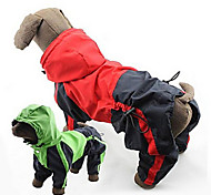 Dog Rain Coat - 4XL / 5XL - Spring/Fall - Red / Green - Waterproof - Mixed Material