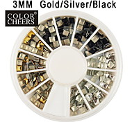 Gold/Silver/Black Square Rivet Alloy Nail Art Decoration 3x3mm