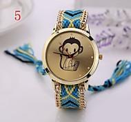 Fashion  Women Watches Gold Wristwatch Ladies Quartz Watches Geneva Handmade Weave Braided  Monkey  Bracelet