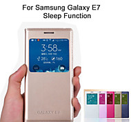 For Samsung Galaxy Case with Windows / Flip Case Full Body Case Solid Color PU Leather Samsung E7