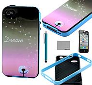 de coco de diente de león Fun® patrón sueño del tpu suave cubierta de la caja con protector de pantalla y el stylus para el iphone 4 / 4s