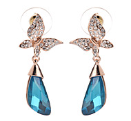 Fashion Women's Equisite Luxury Shiny White And Blue Crystal Drop Earrings Fine Jewelry