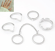 European Style Fashion Personality Wild Leaf Joint Ring (6PCS)