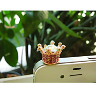 Rhinestone Imperial Crown Anti-dust Earphone Jack for iPhone/iPad and Others(Random Color)