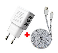 Cwxuan™ 3A 5V 3-Port USB EU Plug Charger with 2m Micro USB Data Cable for Galaxy S3/4/5/6/ HTC and Others