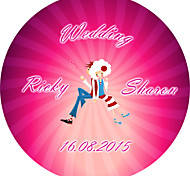 Personalized Wedding Product Labels Cute Doll Circular Pattern of Film Paper (Set of 48pcs)