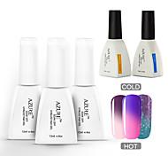 Azure 5 Pcs/Lot Chameleon Temperature UV Gel Soak-off Nail Care Polish for Nail DIY(#16+#22+#27+BASE+TOP)