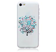 Small White Blooms Pattern TPU Soft Back Cover Case for iPhone 5C