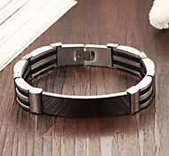 High Quality Titanium Steel Black White Silicone Bracelet