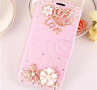 Crystal Surface Diamond  Look PU Leather Full Body Case Case with Kickstand For iPhone 6