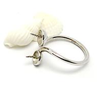 7a-D058 partie base de anneau de bijoux unique avec deux perles de couleur casquette de rhodium (1pcs / lot)