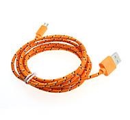 2m usb micro tejido trenzado cable del cargador de sincronización de datos por cable