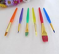 6 Colorful Tip Nylon Child Paint Brushes Nail Brush for Cake Fondant Cream