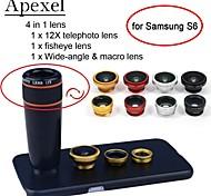 apexel 4 en 1 teleobjetivo + lente ojo de pez + gran angular + lente de la cámara macro 12x negro con el caso para la galaxia s6
