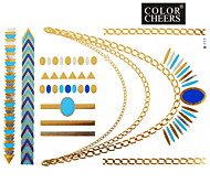 1Pc Gold and Blue Long Bracelet And Necklace Tattoo Sticker 23x15.5CM