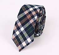 Green Brown Cotton Narrow Blue Grid Tie