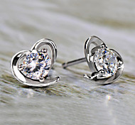 S925 Fine Silver AAA Zircon Heart Shape Stud Earrings