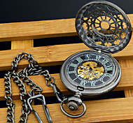 Men's Automatic Self Winding Pocket Watch Perspective Round Hollow Black Luminous Dial Mechanic Skeleton Pocket Watch