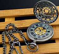 automatico a carica automatica orologio da tasca prospettiva maschile rotondo vuoto nero quadrante luminoso scheletro meccanico orologio