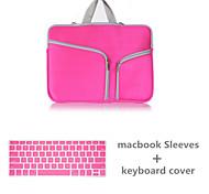 mayor venta bolso de la cremallera de la lona de color sólido con cubierta del teclado para el macbook retina 13.3 (colores surtidos)