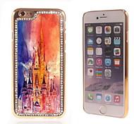 el brillo brillo híbrida diseño del castillo de lujo Bling con la caja de diamantes de imitación de cristal para el iphone 6