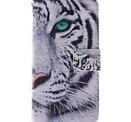 Magic Spider®White Tiger Open PU Wallet Full Body Case with Stand and Screen Protector for Samsung  A5