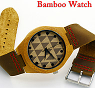 New Fashion Bamboo Wooden Dress Quartz Watch Men Women Top Leather Strap Leisure Clock New Arrival
