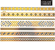 1Pc Gold And Black Long Bracelet Jewelry Tattoo Sticker 23x15CM